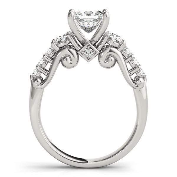 Art-Deco 3 Stone Round Brilliant Shape Diamond Engagement Ring with Accent Diamonds