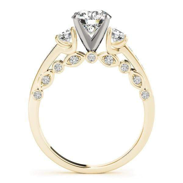 angelucci-jewelry-Art-Deco 3 Stone Round Brilliant Shape 2-Tone Diamond Engagement Ring with Accent Diamonds