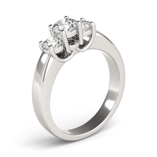 angelucci-jewelry-3 Stone Round Brilliant Shape Diamond Engagement Ring with 2-Tone Candelabrum Gallery Motif
