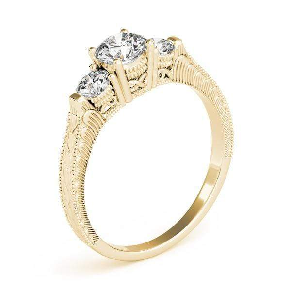 angelucci-jewelry-Vintage 3 Stone Round Brilliant Shape Diamond Engagement Ring with Milgraine Borders