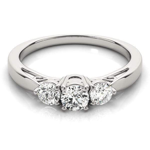 angelucci-jewelry-3 Stone Round Brilliant Shape Diamond Engagement Ring Tapered Band with Heart Gallery Motif