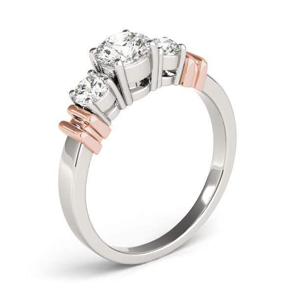 angelucci-jewelry-3 Stone Round Brilliant Shape 14-Karat Diamond Engagement Ring with 2-Tone Borders