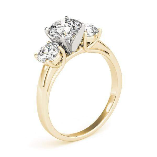 3-Stone Round Brilliant Shape Diamond Engagement Ring With Two Tone Prongs-Angelucci-Jewelry