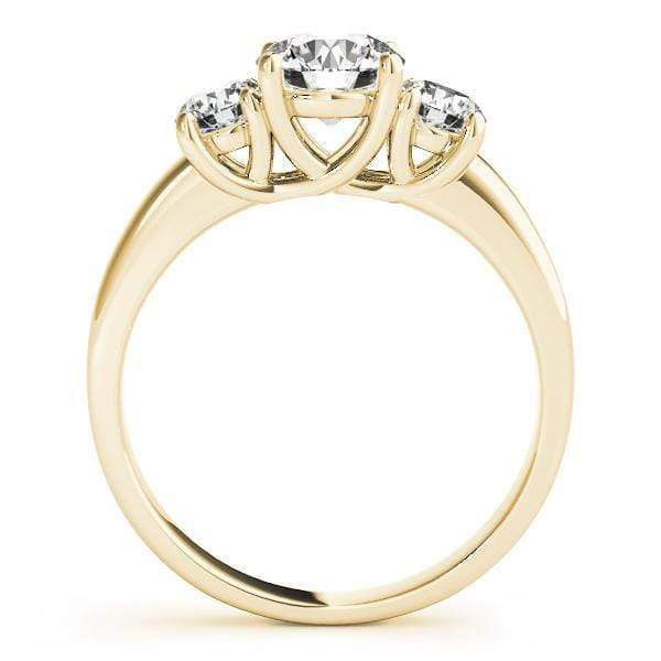 angelucci-jewelry-3-Stone Round Brilliant Shape 14-Karat Bezel-Set Diamond Engagement Ring Plain Band