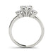 angelucci-jewelry-3-Stone Round 14-Karat Diamond Engagement Ring with 6-Prong Set Center Diamond and Plain Band