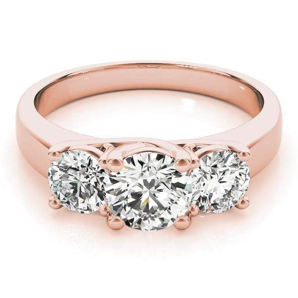 angelucci-jewelry-3-Stone Round Brilliant Shape Bezel-Set Diamond Engagement Ring Plain Band