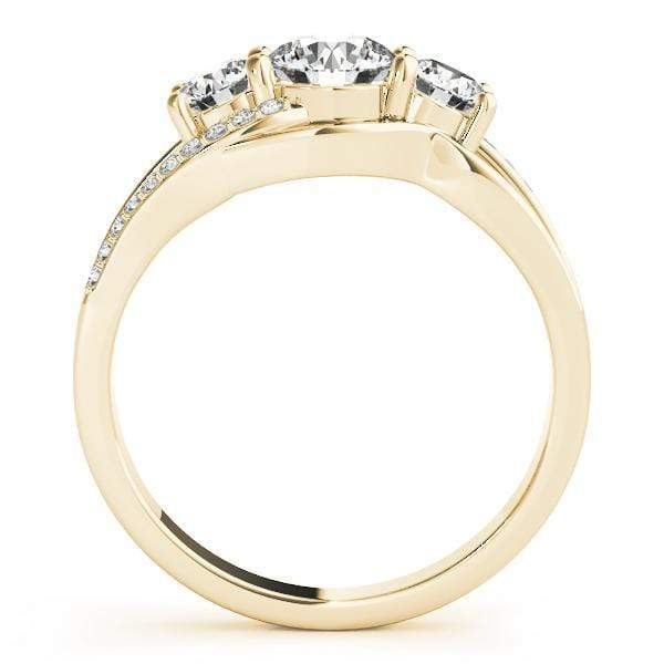 angelucci-jewelry-3-Stone Round Brilliant Shape Multirow Bezel-Set Diamond Engagement Ring with Accent Diamonds