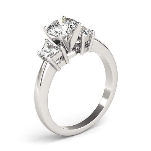 angelucci-jewelry-3 Stone Round Brilliant Shape Diamond Engagement Ring with Taper-Shape Side Diamonds