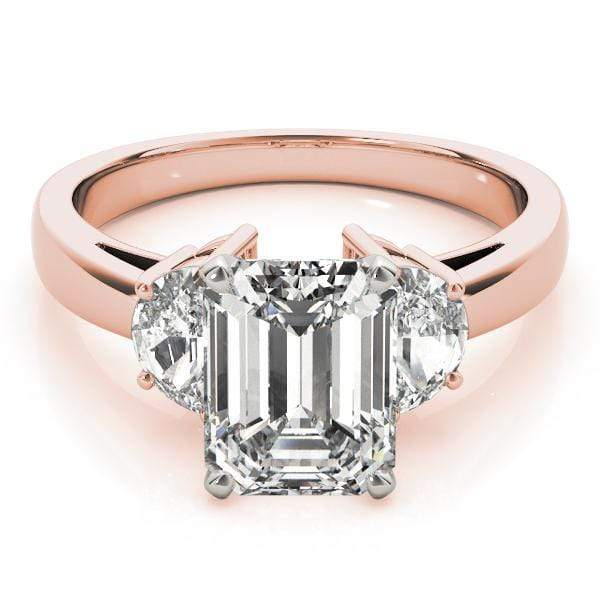 angelucci-jewelry-3 Stone Emerald Shape & Halfmoons 2-Tone Diamond Engagement Ring Plain Band