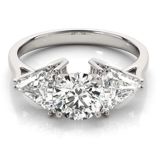 angelucci-jewelry-3 Stone Round Brilliant Shape and Trillion Shape 2-Tone Diamond Engagement Ring Plain Shank