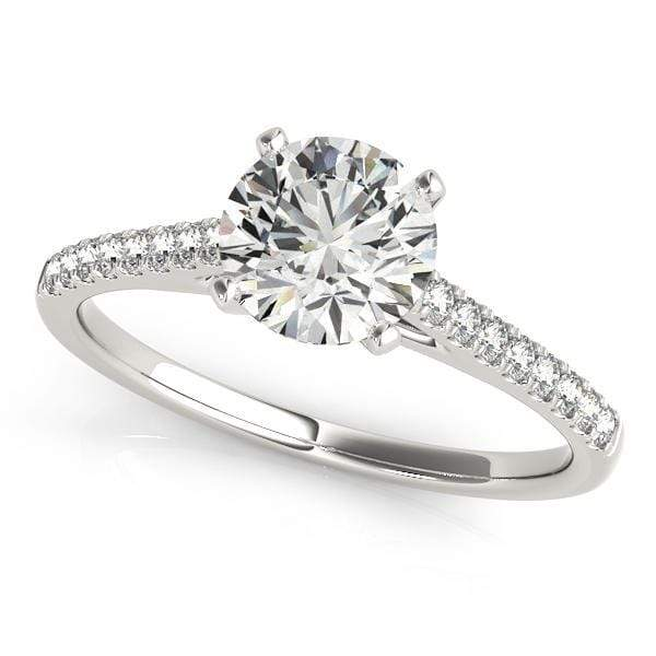 angelucci-jewelry-Round Brilliant Shape 2-Tone Prong Setting Solitaire Diamond Engagement Ring with Accent Diamonds