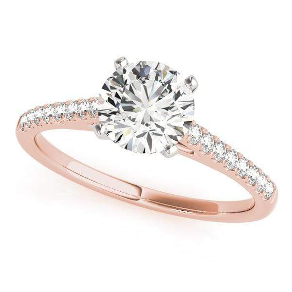 angelucci-jewelry-Round Shape 14-Karat 2-Tone Prong Set Solitaire Diamond Engagement Ring with Diamond Accents