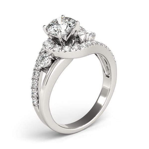 angelucci-jewelry-3-Stone Round Brilliant Shape Split-Shank Bypass Diamond Engagement Ring