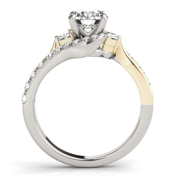 angelucci-jewelry-Round Brilliant Shape 2-Tone Bypass Diamond Engagement Ring with White and Yellow Gold Band