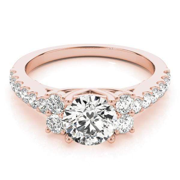 angelucci-jewelry-Round Brilliant Shape Cathedral-Set Diamond Engagement Ring with Cluster-Set Side Diamonds