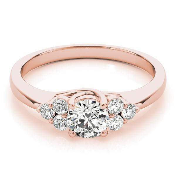 angelucci-jewelry-Round Brilliant Shape Trellis Diamond Engagement Ring Tapered Band with Cluster-Set Side Diamonds