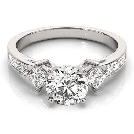 angelucci-jewelry-3 Stone Round and Princess Shape 2-Tone Pave Diamond Engagement Ring