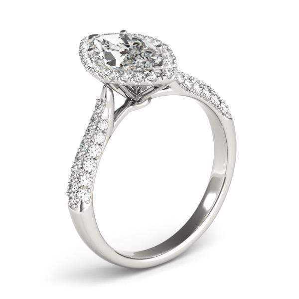 angelucci-jewelry-3-Row Marquise Shape Pavé Halo Diamond Engagement Ring
