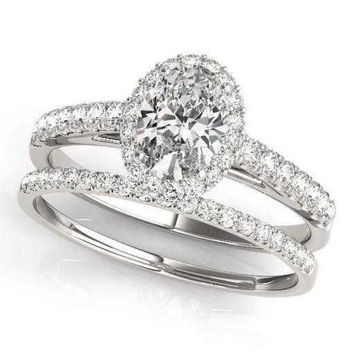Oval Shape Halo Diamond Engagement Ring with Accent Diamonds & Prongs Setting-Angelucci-Jewelry