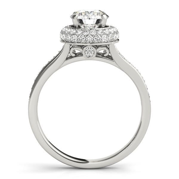 Round Brilliant Double Halo Infinity Diamond Engagement Ring with Accent Diamonds-Angelucci-Jewelry