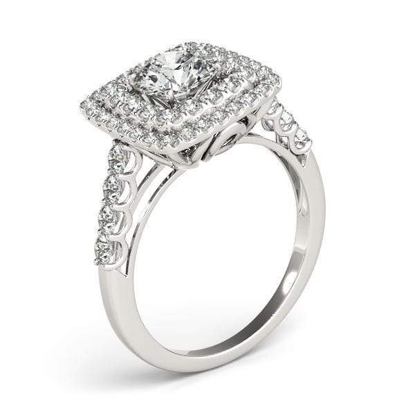 Round Brilliant Double Halo Diamond Engagement Ring with Square Borders-Angelucci-Jewelry