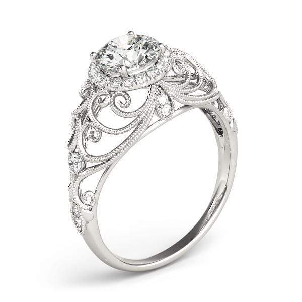 Antique Round Shape Halo Diamond Engagement Ring With Side Diamonds, Milgraine Borders & Open Filigree-Angelucci-Jewelry