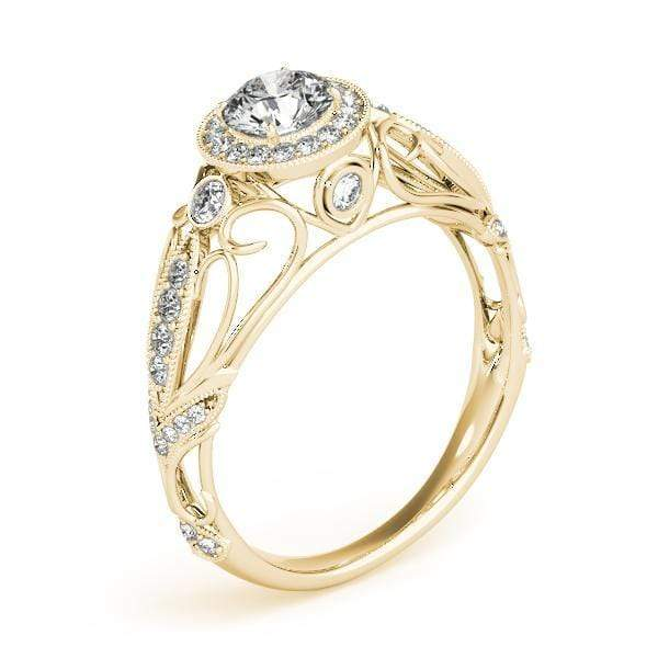Antique Round Brilliant  Shape Halo Diamond Engagement Ring With Side Diamonds, Milgraine Borders, Open Filigree & Gallery Accent Diamonds-Angelucci-Jewelry