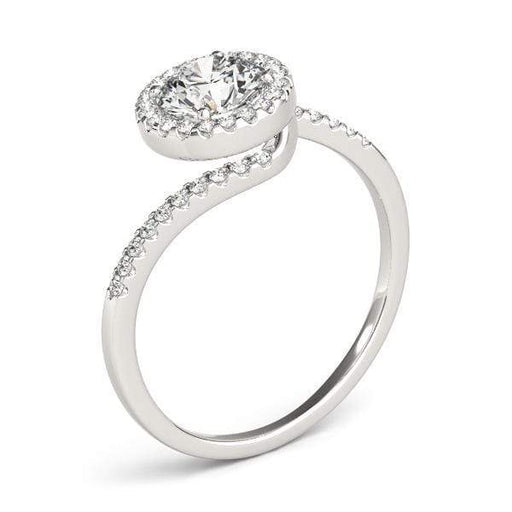 Bypass Round Halo Diamond Engagement Ring With Side Diamonds-Angelucci-Jewelry