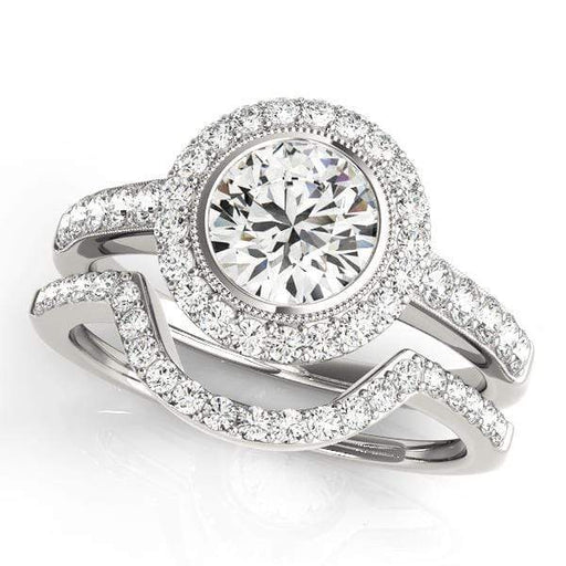 Round Shape Halo Diamond Engagement Ring With Side Diamonds & Milgraine Borders-Angelucci-Jewelry