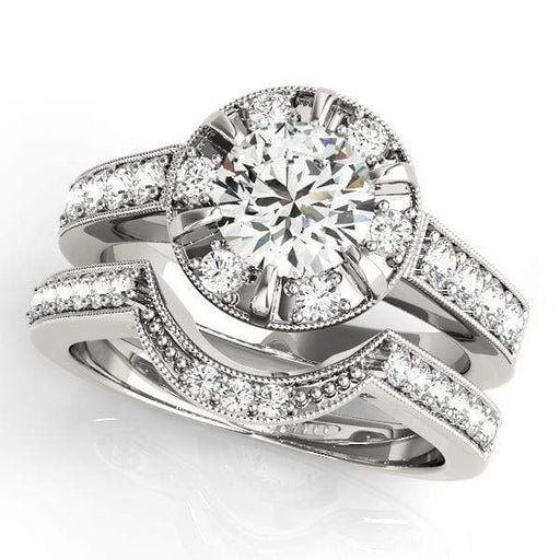 Round Shape Halo Diamond Engagement Rings With Diamonds Engraved & Milgraine Borders-Angelucci-Jewelry