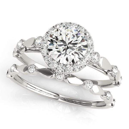 Round Brilliant Shape Halo Diamond Engagement Ring With Alternating Pear & Round Accents-Angelucci-Jewelry