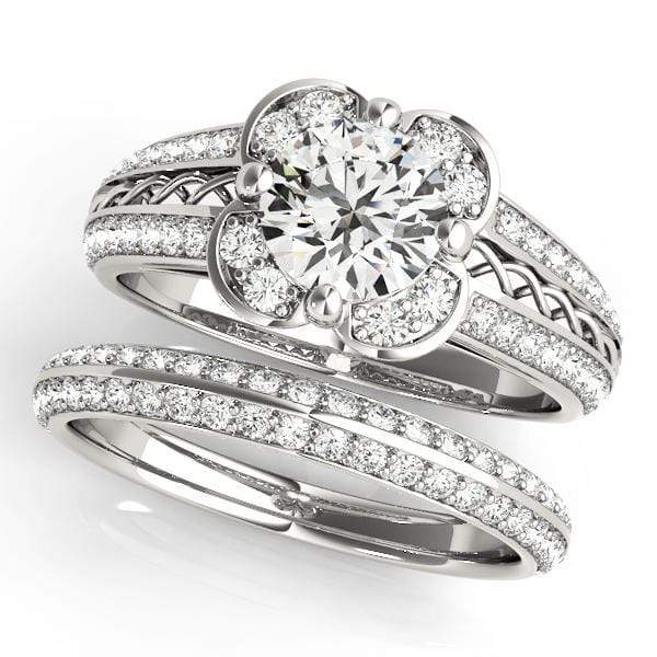 Double Shank Round Brilliant Shape Halo Diamond Engagement Ring with Floral Motif & Accent Diamonds-Angelucci-Jewelry