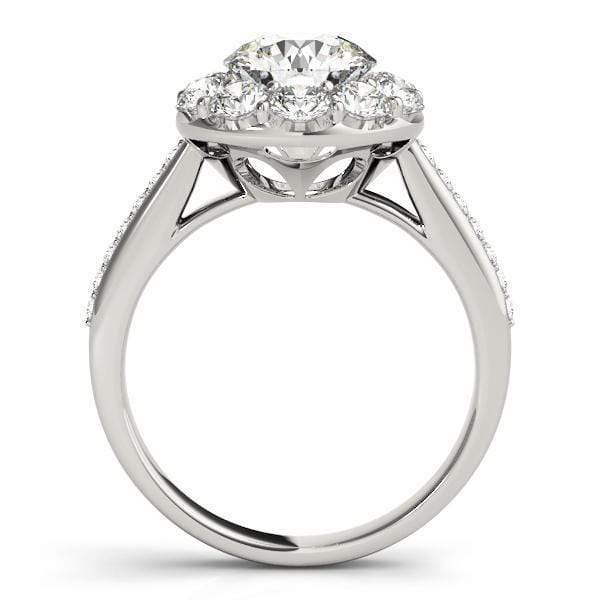 Round Brilliant Shape Large Halo Diamond Engagement Ring With Cathedral Setting-Angelucci-Jewelry