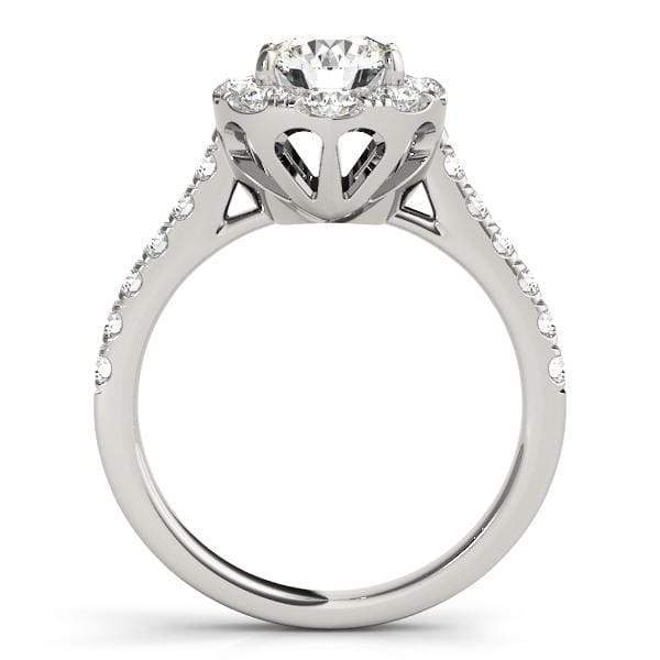 Round Brilliant Shape Large Halo Diamond Engagement Ring With Oval Side Diamonds & Cathedral Setting-Angelucci-Jewelry