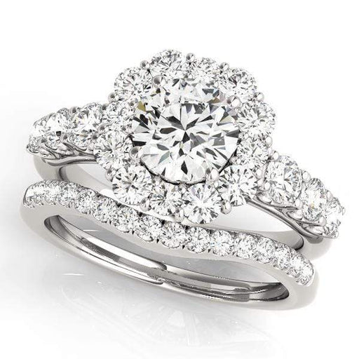 Round Shape Large Halo Diamond Engagement Ring With Large Side Diamonds-Angelucci-Jewelry
