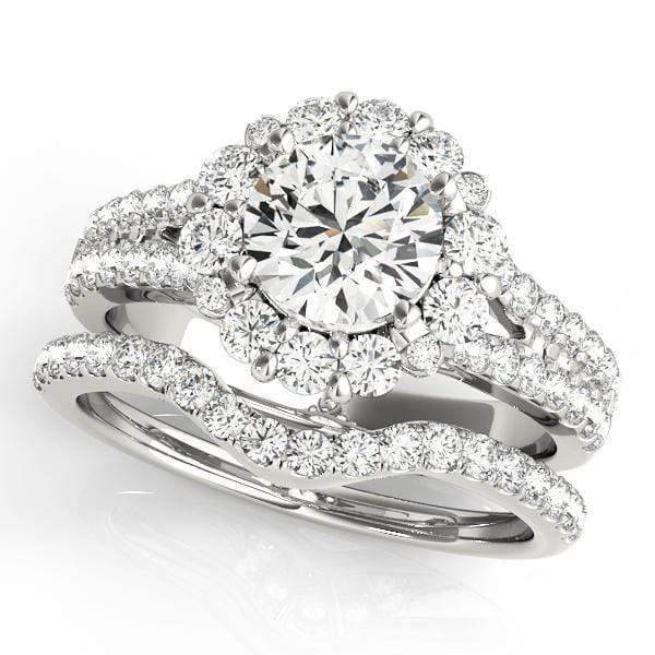 Double Shank Round Shape Large Halo Diamond Engagement Ring-Angelucci-Jewelry