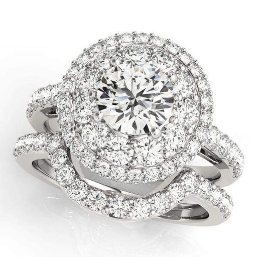 Round Shape Double Halo Diamond Engagement Ring With Butterfly Gallery Accent-Angelucci-Jewelry