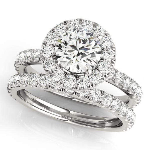 Round Shape Large Halo Diamond Engagement Ring with Accent Diamonds-Angelucci-Jewelry