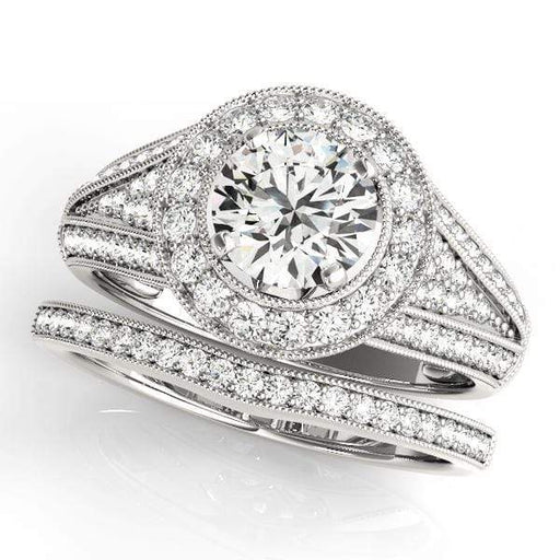 Round Shape Halo Diamond Engagement Rings With 3-Row Pave Diamonds & Milgraine Borders-Angelucci-Jewelry