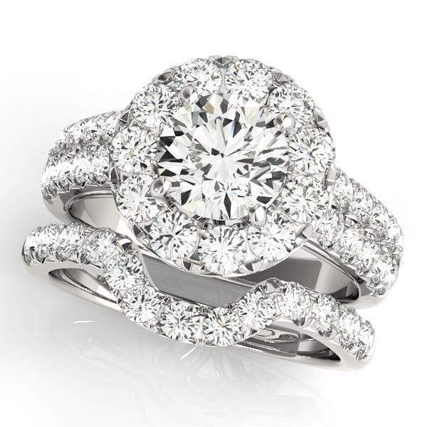 2 Row Round Brilliant Shape Large Halo Diamond Engagement Ring With Large Side Diamonds-Angelucci-Jewelry