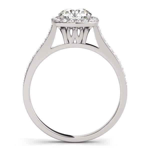 Round Brilliant Shape Halo Diamond Engagement Ring with Cushion Border & Pavè Accent Diamonds-Angelucci-Jewelry