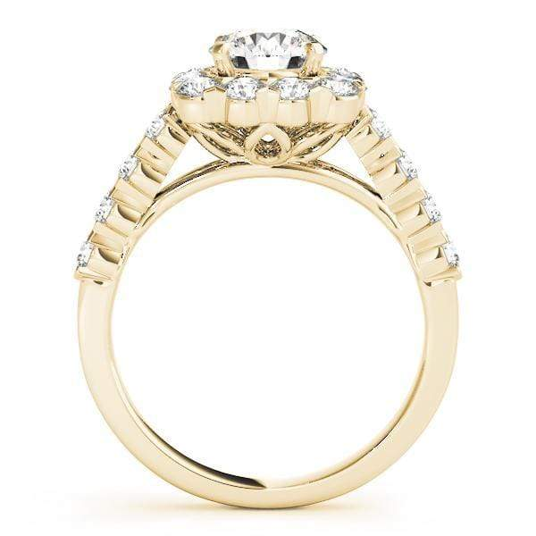 Round Brilliant Shape Large Halo Diamond Engagement Ring with Cushion Border & Shared Prongs Setting, Side Diamonds & Floral Gallery-Angelucci-Jewelry