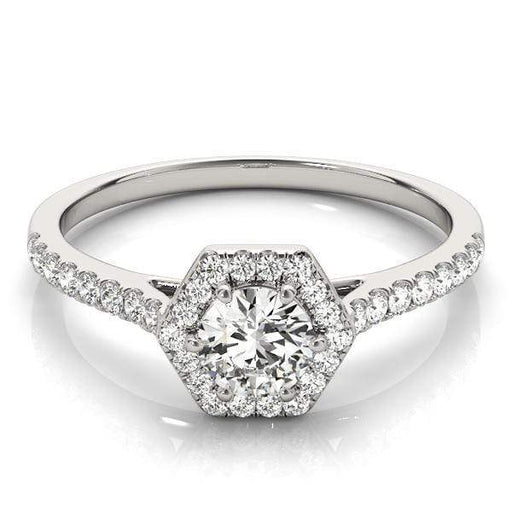 Round Shape Halo Diamond Engagement Ring with Hexagonal Border & Channel Setting-Angelucci-Jewelry