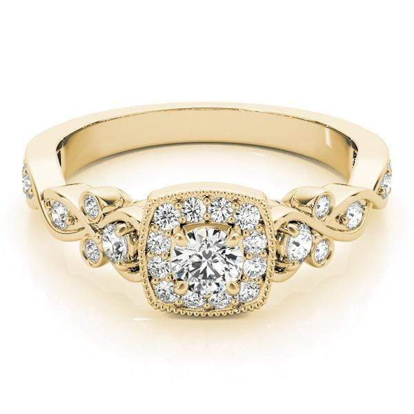 Round Shape Halo Diamond Engagement Ring with Cushion Border, Milgraine Border & Pear Alternating-Angelucci-Jewelry