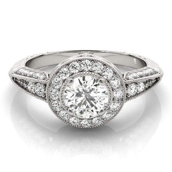 Antique Round Shape Large Halo Diamond Engagement Ring with 3-Row Accent Diamonds & Milgraine Borders-Angelucci-Jewelry