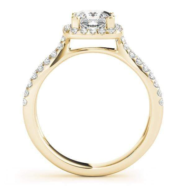Double Shank Princess Shape Halo Diamond Engagement Ring with Cushion Border & Prongs Setting-Angelucci-Jewelry