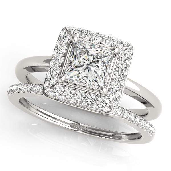 Princess Shape Double Halo Diamond Engagement Ring with Square Border & Flat Thin Band-Angelucci-Jewelry