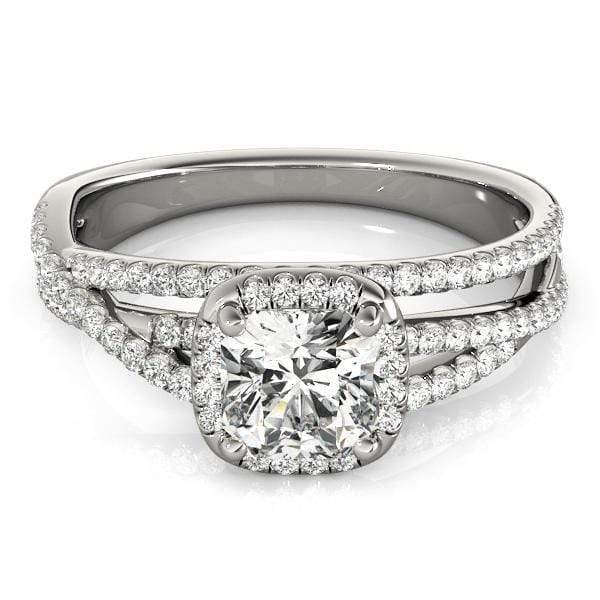 Cushion Shape Halo Diamond Engagement Ring with Cushion Border & 3-Row Accent Diamonds & Infinity Setting-Angelucci-Jewelry