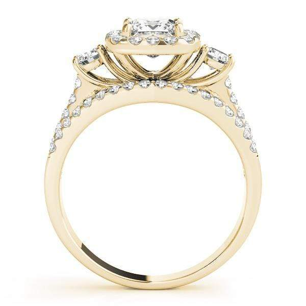 Double Shank Princess Shape Halo Engagement Ring with Cushion Border, Two Round Accent & 3-Row Pave Diamonds-Angelucci-Jewelry