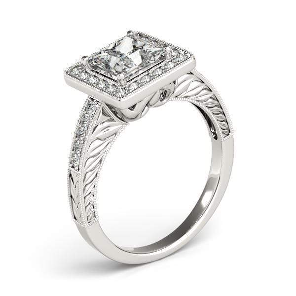 Princess Shape Halo Diamond Engagement Ring Square Border, Milgraine Borders & Prongs Setting-Angelucci-Jewelry